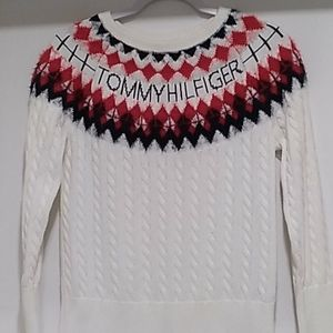 Tommy Hilfiger• white with stitched name & design